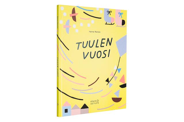 A cover and a spread of the book Tuulen vuosi.