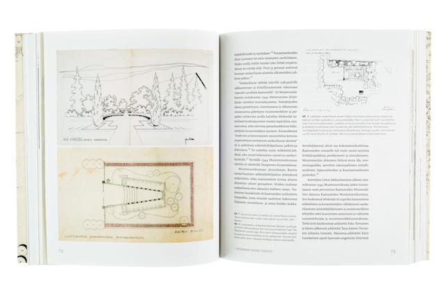 A cover and a spread of the book Unelma paremmasta maailmasta - Moderni puutarha ja maisema Suomessa 1900-1970.