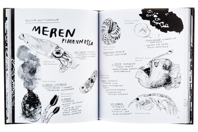 A cover and a spread of the book Yö - Kirja unesta ja pimeän salaisuuksista.