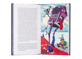 A cover and a spread of the book Pikkuveli ja mainio harharetki.