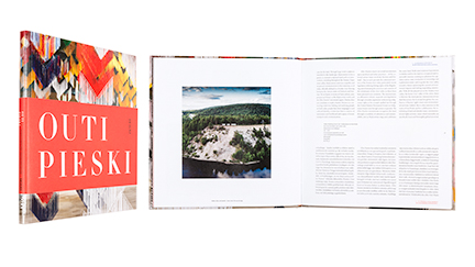 A cover and a spread of the book Outi Pieski - Cuolmmadit.