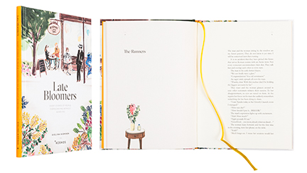 A cover and a spread of the book Late Bloomers.
