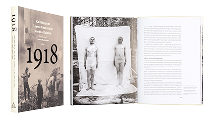 A cover and a spread of the book 1918.