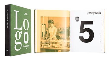 A cover and a spread of the book Logo isommalla! Grafia 1933-2018.