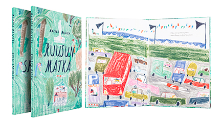 A cover and a spread of the book Ruusun matka / Rosie springer.
