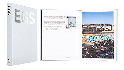 A cover and a spread of the book EGS.