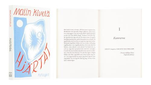 A cover and a spread of the book Hjärtat.