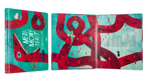 A cover and a spread of the book Merimonsterit.