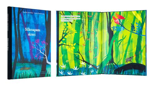 A cover and a spread of the book Silkesapans skratt.