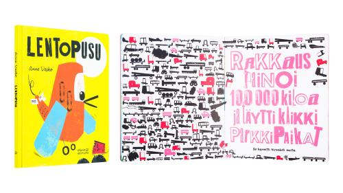 A cover and a spread of the book Lentopusu.
