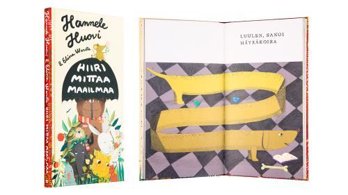 A cover and a spread of the book Hiiri mittaa maailmaa.