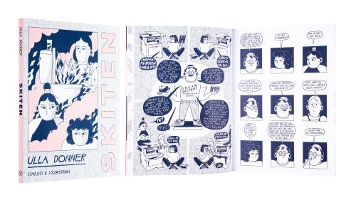 A cover and a spread of the book Skiten.