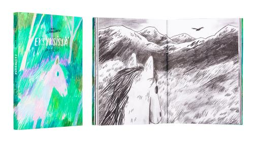 A cover and a spread of the book Eksyksissä - Being Lost.