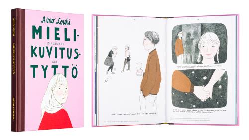 A cover and a spread of the book Mielikuvitustyttö.