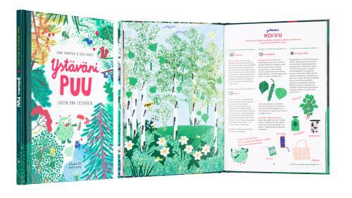 A cover and a spread of the book Ystäväni puu.