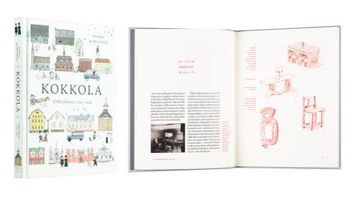 A cover and a spread of the book Kokkola: Arkkitehtuuri 1620-1920.