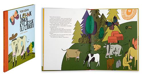 Kansi ja aukeama kirjasta Lehmä, jonka kyljessä on luukku.