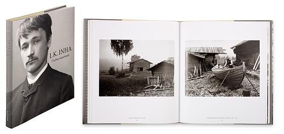 Ett omslag och en öppning av boken Unelma maisemasta.