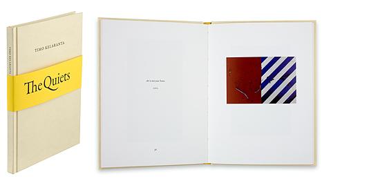 Ett omslag och en öppning av boken The Quiets.