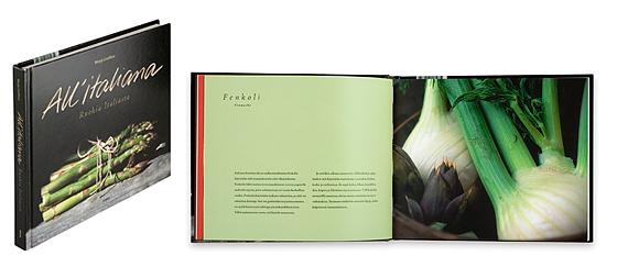 Ett omslag och en öppning av boken All'italiana.