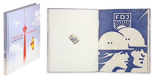 Ett omslag och en öppning av boken Itä-Berliinin taivaan alla.
