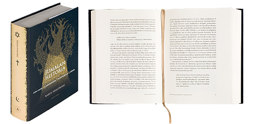 Kansi ja aukeama kirjasta Jumalan historia - 4000 vuotta juutalaisuutta, kristinuskoa ja islamia.
