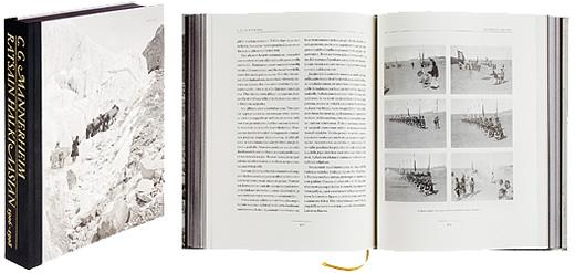 Kansi ja aukeama kirjasta Ratsain halki Aasian 1906-1908.
