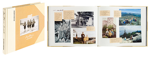 A cover and a spread of the book Muistikuvia Suomesta.