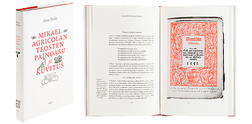 A cover and a spread of the book Mikael Agricolan teosten painoasu ja kuvitus.