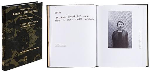 Kansi ja aukeama kirjasta  Aasian sirpaleita. Tero Kiiskinen. Taiteilija. Tutkimusmatkailija - Fragments of Asia. Tero Kiiskinen. Artist. Explorer.