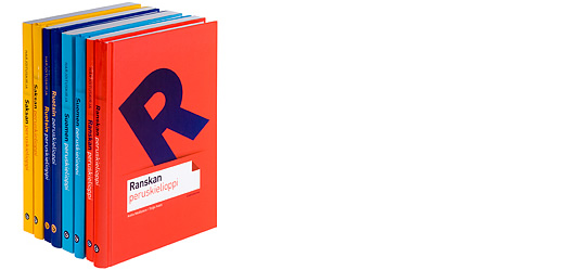 A cover and a spread of the book Peruskielioppi- ja harjoituskirjasarja - seitsemän kielen oppikirjat 2007.