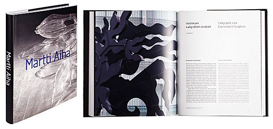 A cover and a spread of the book Martti Aiha.