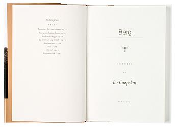 Ett omslag och en öppning av boken Berg.