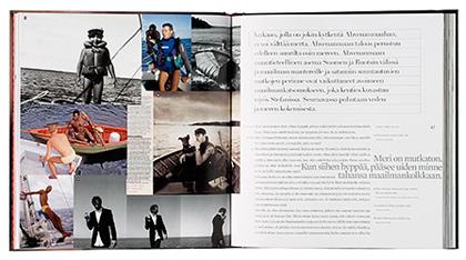 Ett omslag och en öppning av boken Himo, rakkaus ja raivo.