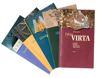A cover and a spread of the book Virta -sarja (Lukion uskonto 1-5).