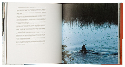 Ett omslag och en öppning av boken Hirven klaani.