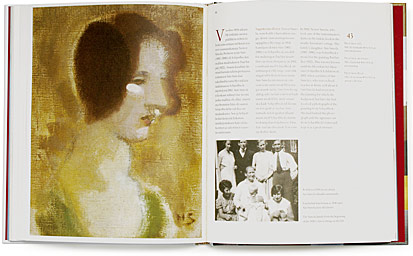 A cover and a spread of the book Helene Schjerfbeck. Malleja Modeller Models.