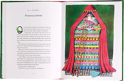 Ett omslag och en öppning av boken Prinsessojen satuaarre.