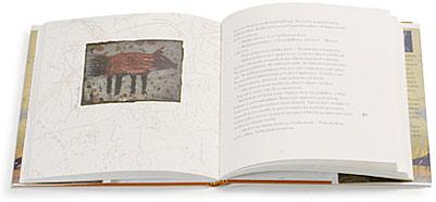 Ett omslag och en öppning av boken Gepardi katsoo peiliin.