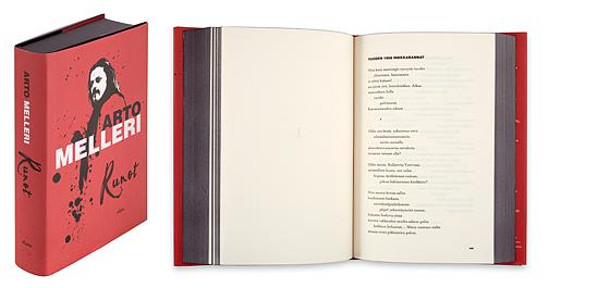 Ett omslag och en öppning av boken Runot.